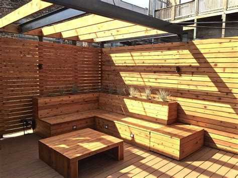 deck with built in bench roof deck with built in seating and planters lakview chicago urban rooftops