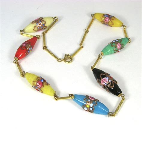 bead boutique vintage murano wedding cake glass bead necklace from