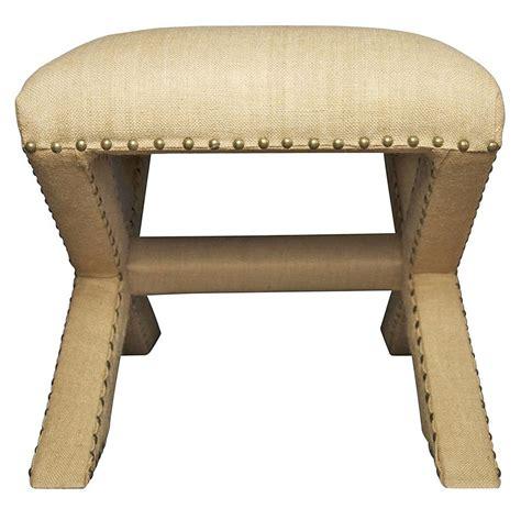 x stool ottoman madie regency style x base burlap nailhead wide ottoman
