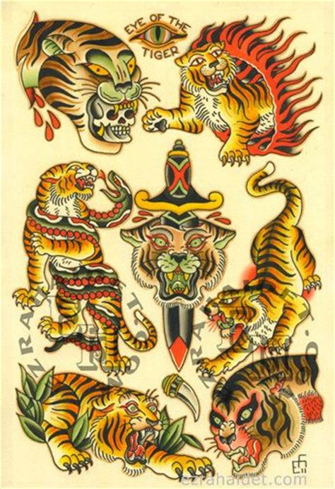 tattoo flash printer traditional tattoo flash print 2011 tiger 13 quot x 19 quot 15