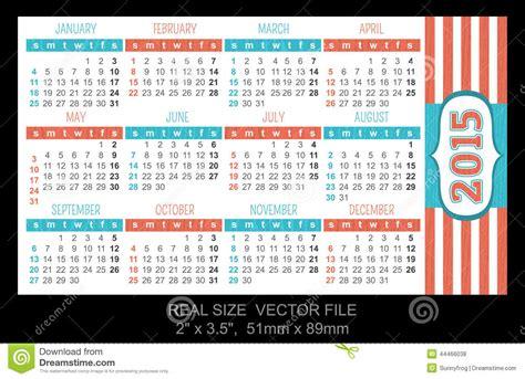 Calendario Cartera 2015 Pocket Calendar 2015 Start On Sunday Stock Vector Image