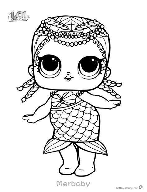 Coloring Page Lol by Mermaid Lol Doll Coloring Pages Merbaby Free