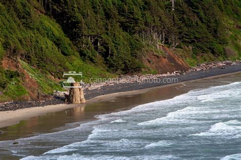 crescent beach at high tide cannon beach photo