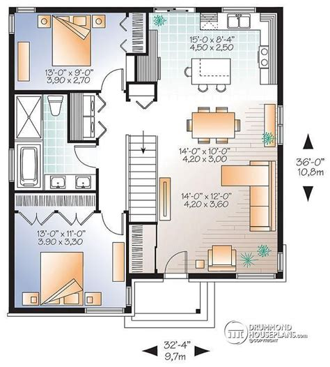 floor plan concept w3129 v1 small affordable modern house plan with open