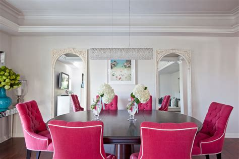 Pink Chair And A Half Design Ideas White Pink Blue Chic Dining Room Oval Table Tufted Chairs11 Interior Design Ideas