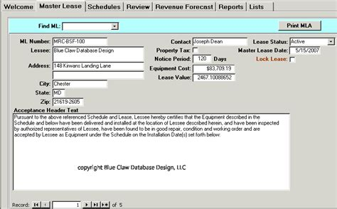 microsoft access contract management database template lease contract management