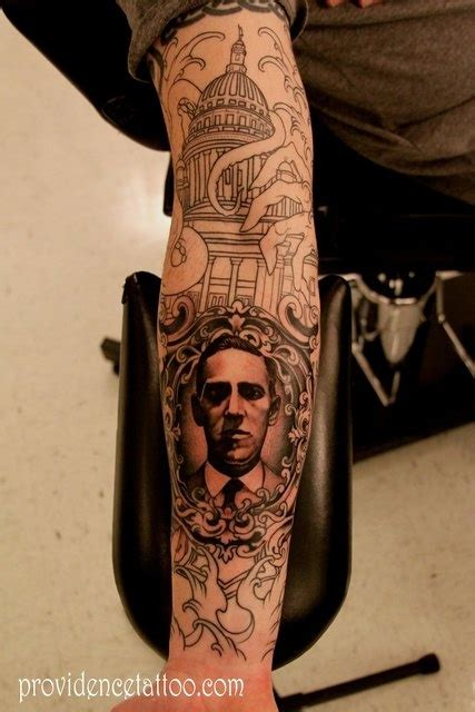 lovecraft tattoo cthulhu with his subservient the tortured soul of