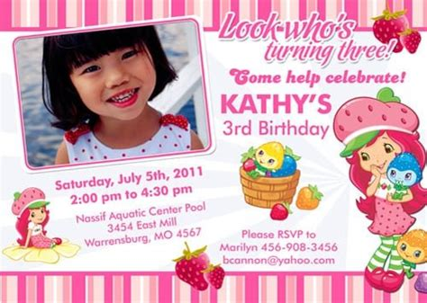 Strawberry Shortcake Invitation Template by The Gallery For Gt Strawberry Shortcake Invitations