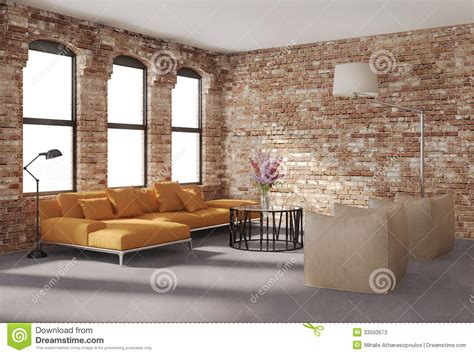 Faux Fireplace Plans by Contemporary Stylish Loft Interior Brick Walls Orange