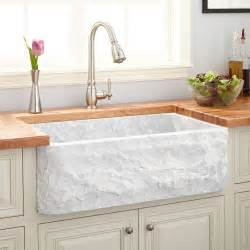 33 quot polished marble farmhouse sink chiseled apron