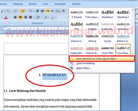cara membuat format daftar isi word tutorial membuat daftar isi otomatis di word 100 berhasil
