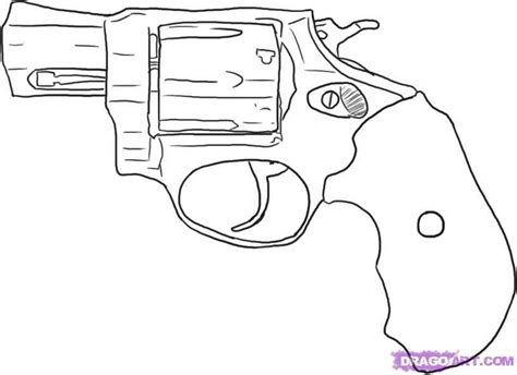 how to draw a revolver step by step guns weapons free
