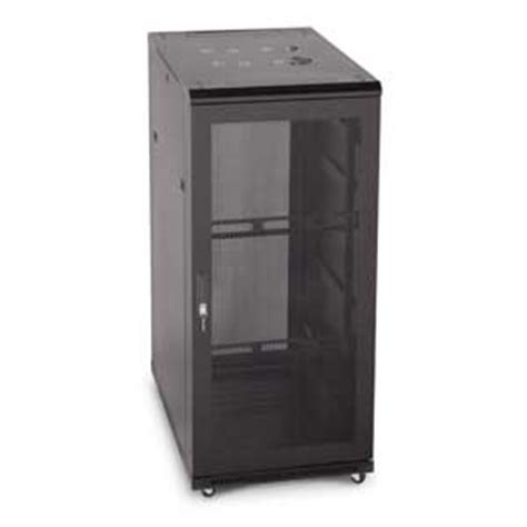 economy server rack glass front vented rear door by