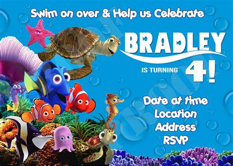printable nemo birthday invitations finding nemo birthday invitations template best template