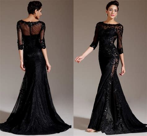 best black dress black mermaid prom dress with sleeves naf dresses