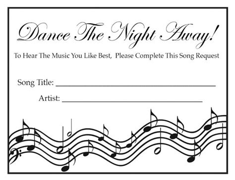 Song Request Card Template by Wedding Song Request Cards Black By