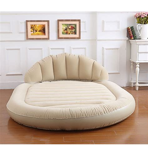 inflatable settee double bed beige daybed lounger air inflatable sofa couch mattress