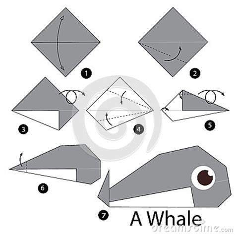 Step By Step Origami Animals - step by step how to make origami whale stock
