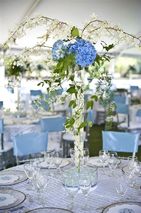 blue hydrangea centerpiece hydrangea wedding centerpiece blue green ivory onewed