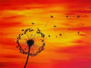 Yellow Duvet Dandelion Sunset Painting Painting By Michelle Eshleman
