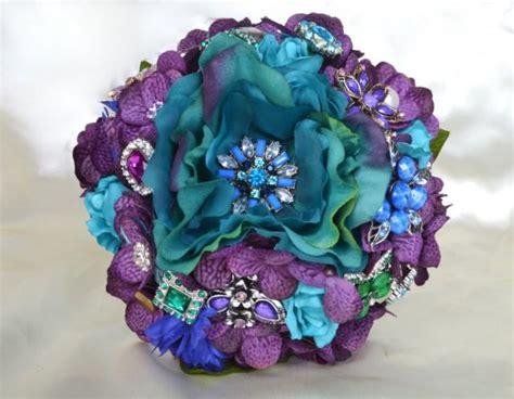 purple green blue peacock wedding broach bouquet by peacock brooch toss bouquet bridal toss bouquet purple