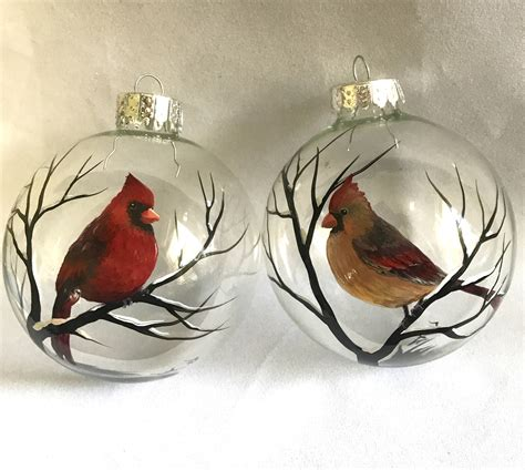unique red cardinal christmas ornaments cardinal ornament set of two bird winter