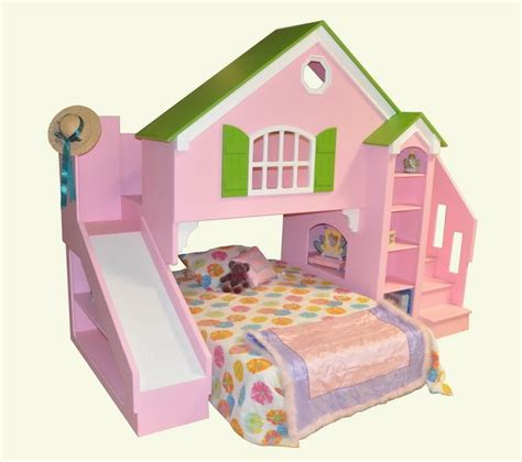 house bed for girl girls cottage bunk beds with slide lots of neat built