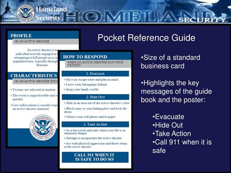 Pocket Reference Guides Dogs ppt active shooter how to respond department of homeland security office of infrastructure