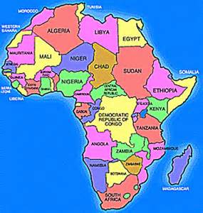a clear africa map pin political stencils on