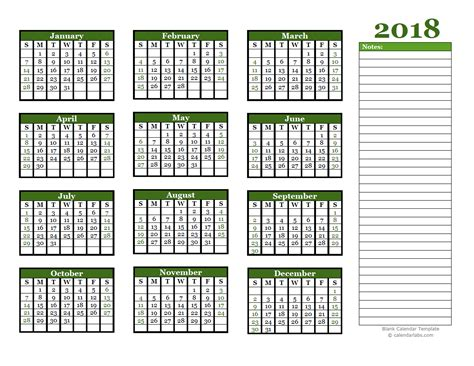 calendar notes template 2018 yearly calendar with blank notes free printable