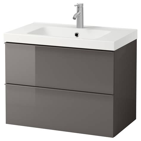 ikea lade bagno odensvik godmorgon wash stand with 2 drawers high gloss