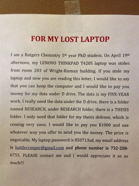 rutgers student loses thesis  ways     data