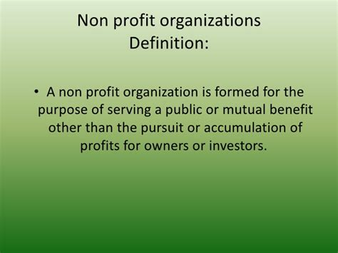 working for a non profit organisation versus working