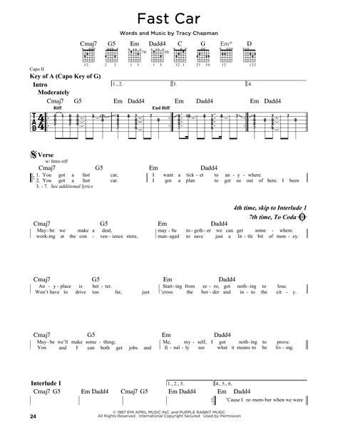 tutorial guitar fast car fast car sheet music by tracy chapman guitar lead sheet