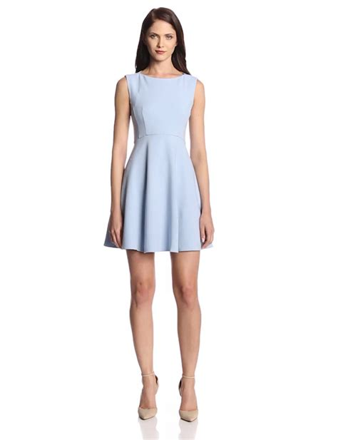 light blue fit and flare dress aesthetic official french connection women s feather