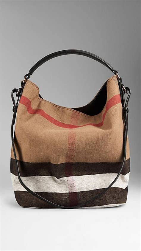 Burberry Check Canvas Hobo Bag Bliss by The Medium Ashby In Canvas Check And Leather Black Hobo