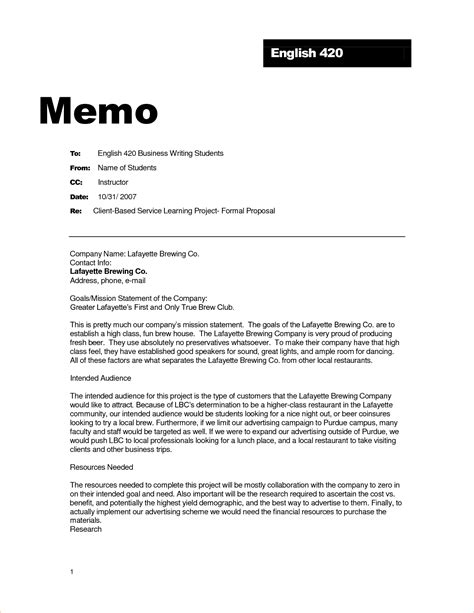 Business Letter And Memo Writing sle of a formal letter letter
