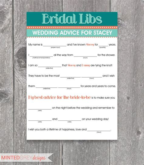 printable wedding shower mad libs printable bridal libs mad libs bridal shower game
