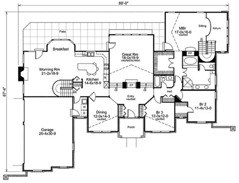 atrium ranch floor plans stylish atrium ranch house plan with class 57134ha