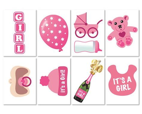 baby girl photo booth props printable baby shower photo props it s a girl photo booth props