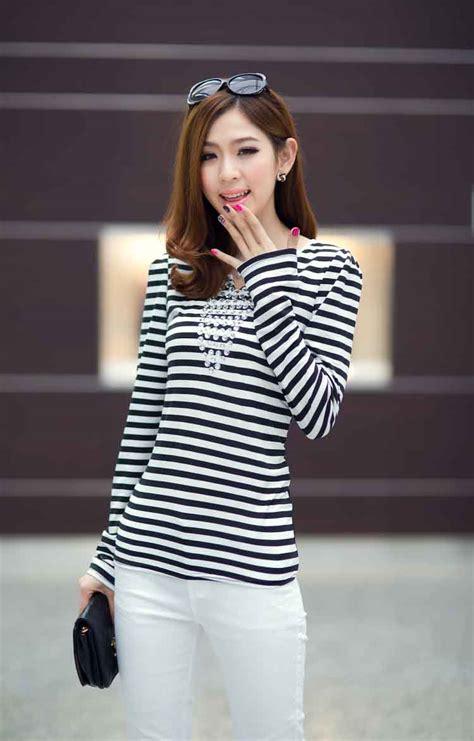 Set Atasan Dan Celana Panjang Garis Garis atasan wanita korea garis garis 2014 model terbaru jual murah import kerja