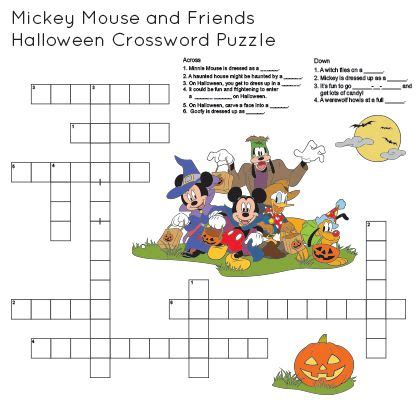 1982 disney film xword mickey friends printable halloween crossword disney family