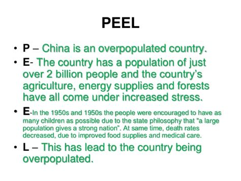 essay structure peel peel p china is an overpopulated country e the