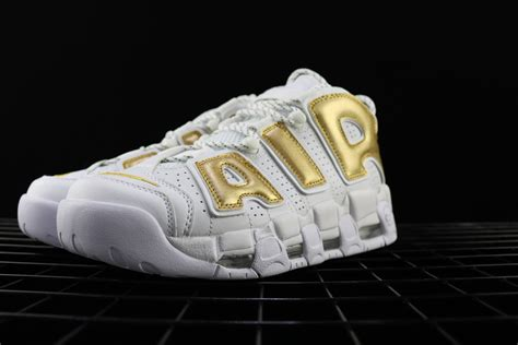 nike air more uptempo white gold for sale hoop