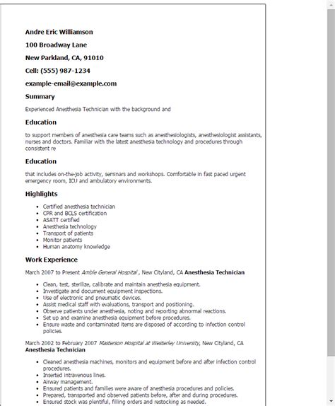 Anesthesia Technician Cover Letter by Anesthesia Technician Resume Template Best Design Tips Myperfectresume