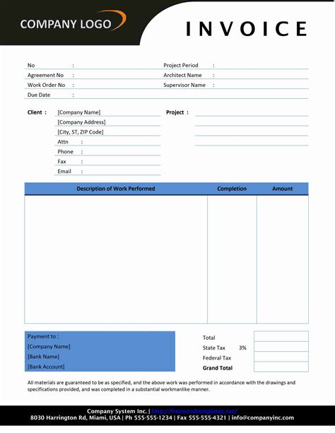 free construction invoice template word contractor invoice