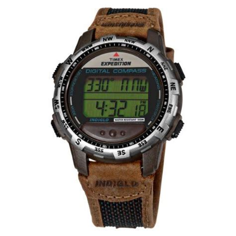 Expedition E6674 Black Leather Green timex s t77862 expedition digital compass brown green leather and 38 00