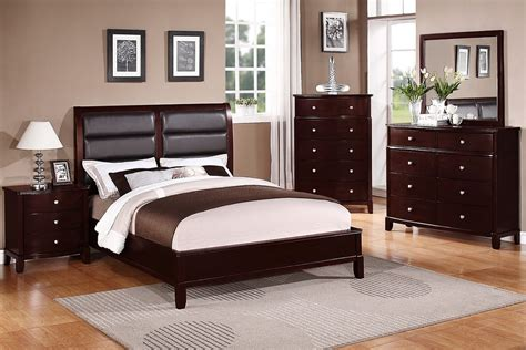 cherry wood bedroom set queen size new era cherry finish solid wood black leather