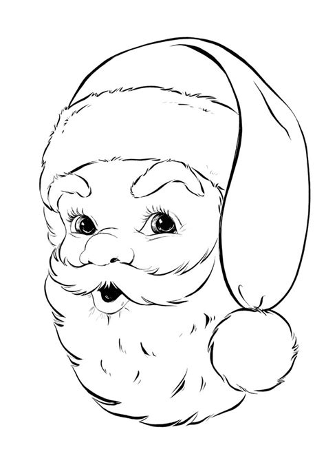 vintage santa coloring page retro santa coloring page the graphics fairy