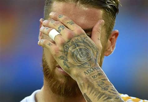 sergio ramos tattoos ramos shows new tattoos but what do they goal